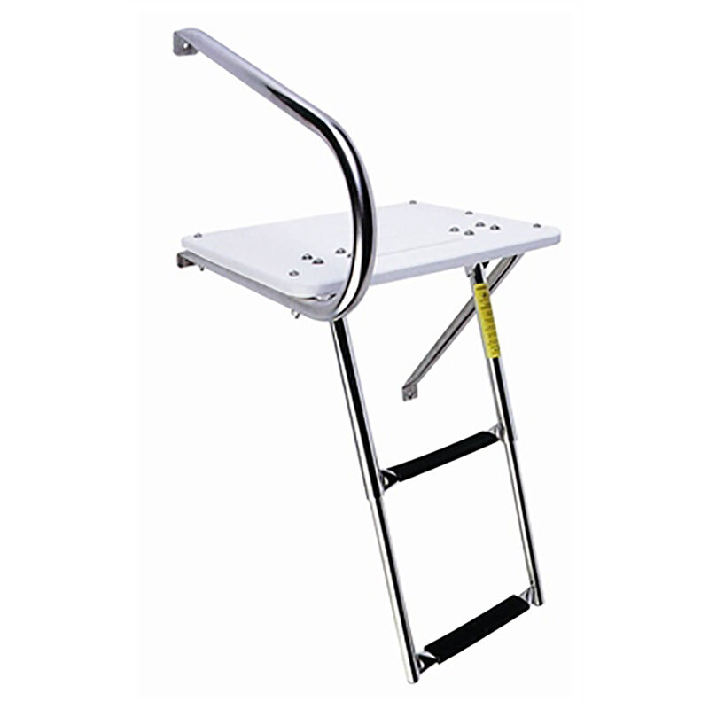 Garelick Outboard Transom Platform with Two-Step Telescoping Ladder image number 1