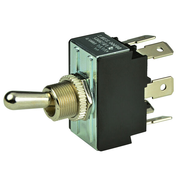 BEP DPDT Chrome Plated Toggle Switch, On/Off/(On)