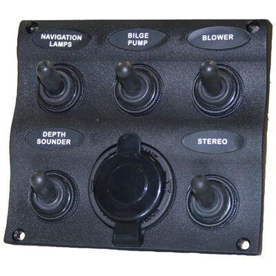 Seasense Marine Splash-Proof 5-Gang Switch Panel with 12V Socket