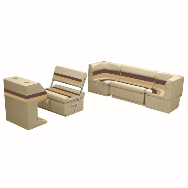 Deluxe Pontoon Furniture w/Toe Kick Base - Rear Cozy Package, Sand/Chestnut/Gold