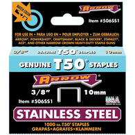"""Arrow T50 3/8"""" Stainless Steel Staples, 1000-ct."""