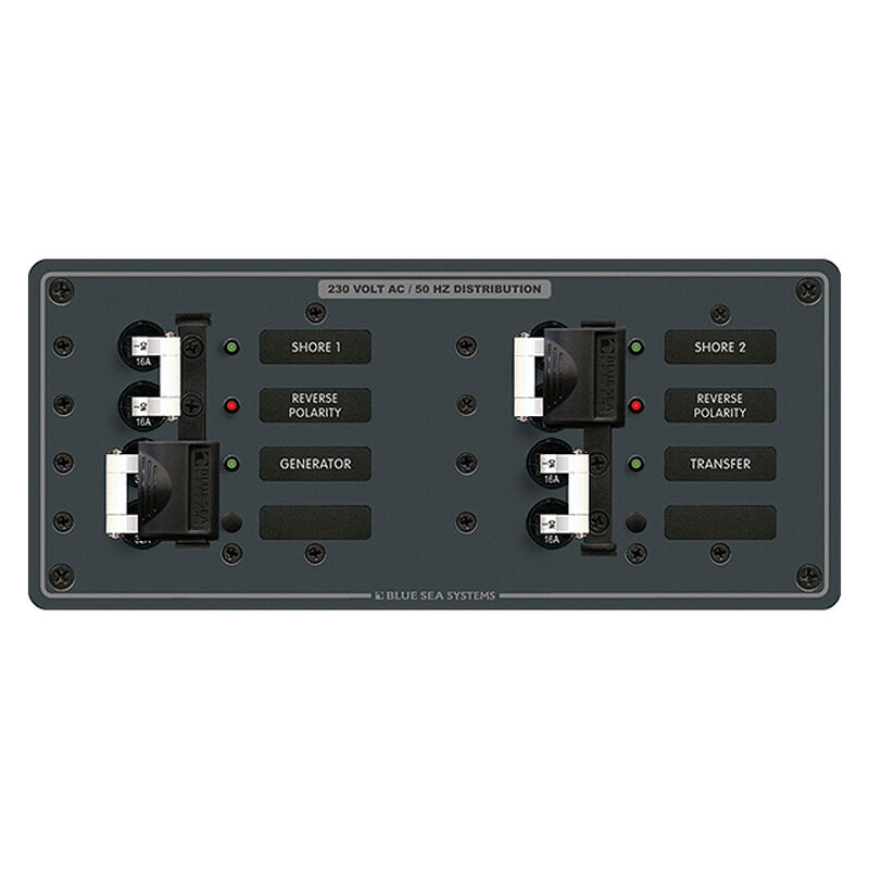 Blue Sea 230V AC Source Selection Circuit Breaker Panel, 3 (16A) Sources image number 1