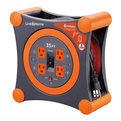 Link2Home Cord Reel 35' Extension Cord with 4 Power Outlets