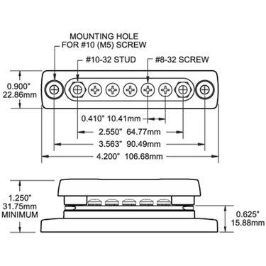 Blue Sea MiniBus 100-Amp Common Busbar, (5) #8-32 Terminal Screws w/Cover