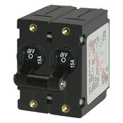 Blue Sea AC Circuit Breaker A-Series Toggle Switch, Double Pole, 15A, Black