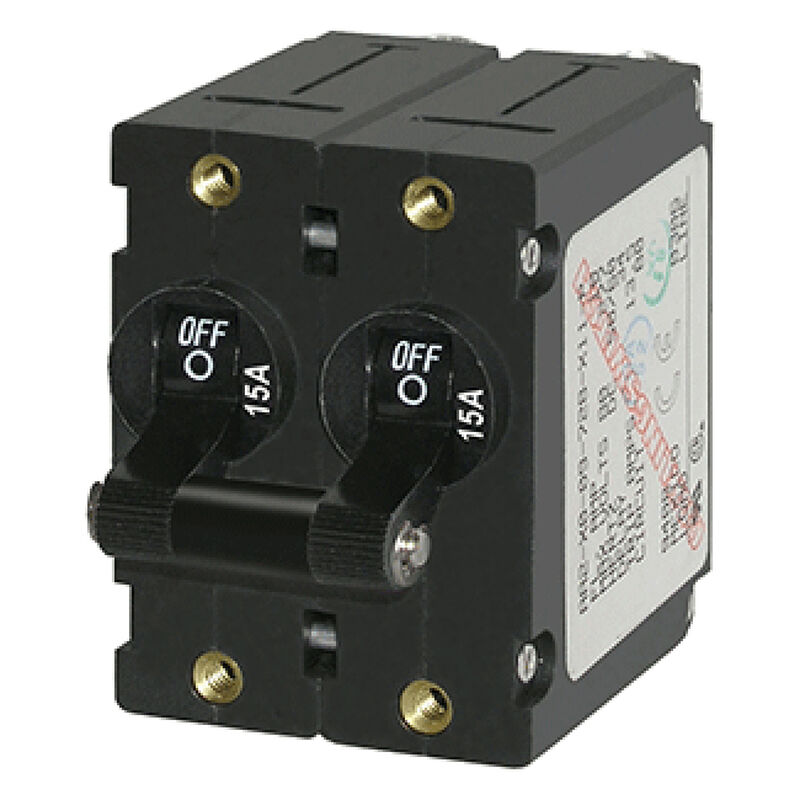 Blue Sea AC Circuit Breaker A-Series Toggle Switch, Double Pole, 15A, Black image number 1