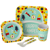 Kid's Happy Camper Food Tray Set, Yellow/Aqua