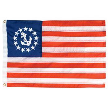 "12"" x 18"" Nylon Sewn U.S. Yacht Ensign Flag"