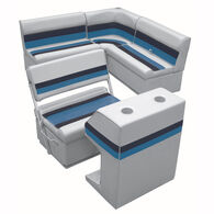 Deluxe Pontoon Furniture w/Toe Kick Base - Rear Group 3 Package, Gray/Navy/Blue