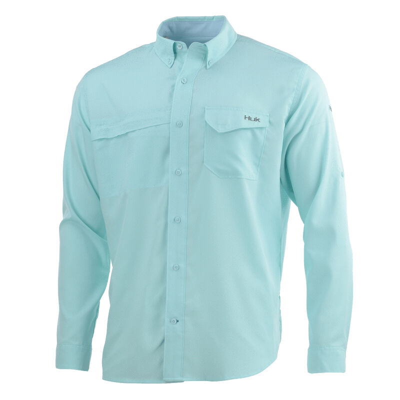 HUK Men's Tide Point Woven Solid Long-Sleeve Shirt image number 2
