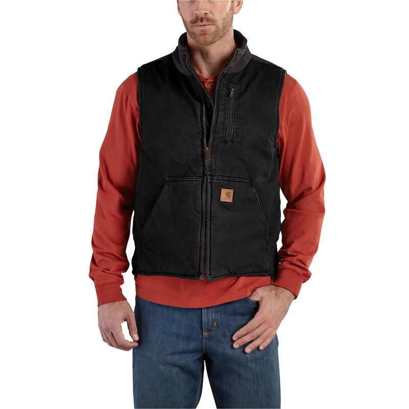 Carhartt Men's Sandstone Sherpa-Lined Mock-Neck Vest image number 1