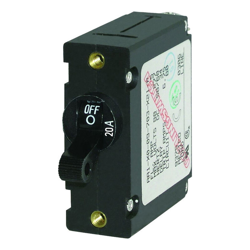 Blue Sea Circuit Breaker A-Series Toggle Switch, Single Pole, 20A, Black image number 1