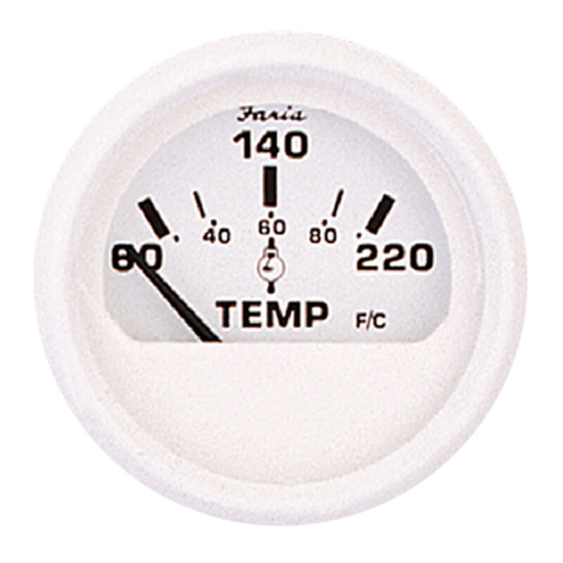 """Faria 2"""" Dress White Series Cylinder Head Temperature Gauge image number 1"""