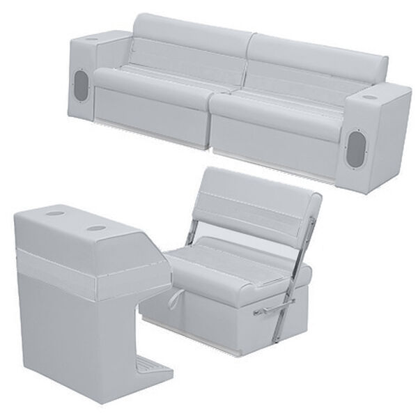 Deluxe Pontoon Furniture w/Toe Kick Base - Rear Group 7 Package, Gray