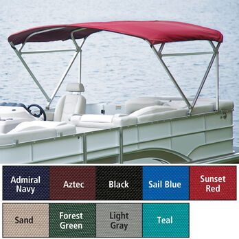 "Traditional Pontoon Bimini Top, SurLast Polyester, 1-1/4"" Free Standing 90""-96""W"