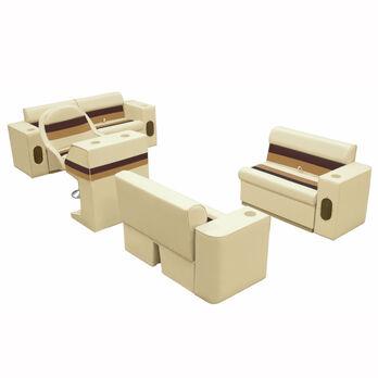 Deluxe Pontoon Furniture w/Toe Kick Base, Complete Boat Package, Sand/Chestnut/G