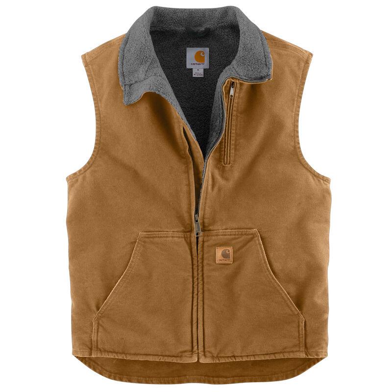 Carhartt Men's Sandstone Sherpa-Lined Mock-Neck Vest image number 2