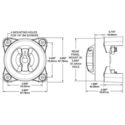 Blue Sea Systems e-Series 9001e Selector 4-Position Battery Switch
