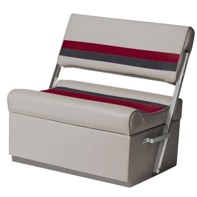 Toonmate Deluxe Pontoon Flip Flop Seat with Toe Kick Base, Gray