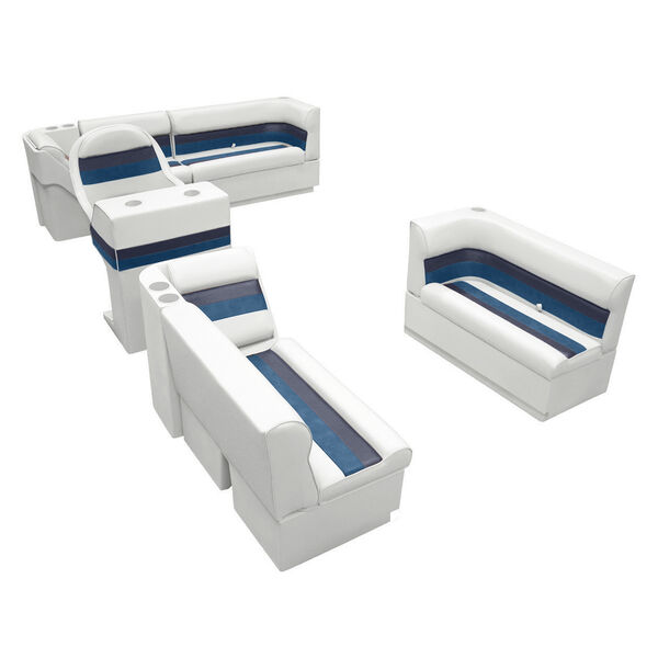 Deluxe Pontoon Furniture w/Toe Kick Base, Complete Boat Package A, White/Navy/Bl