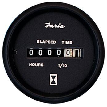 "Faria 2"" Euro Black Series Hourmeter, 10,000 Hours / 12-32V DC"