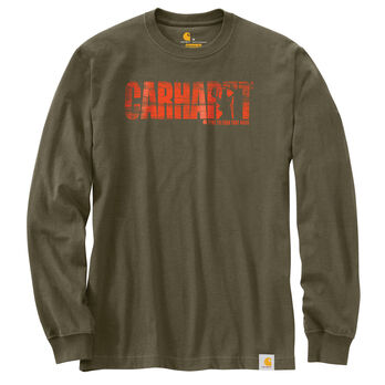 Carhartt Men's Workwear Hunting Graphic Block Logo Long-Sleeve Tee