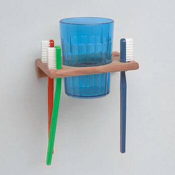 "SeaForce Teak Glass & Toothbrush Holder, 1-1/16""H x 4-3/4""W x 3-1/4""D"
