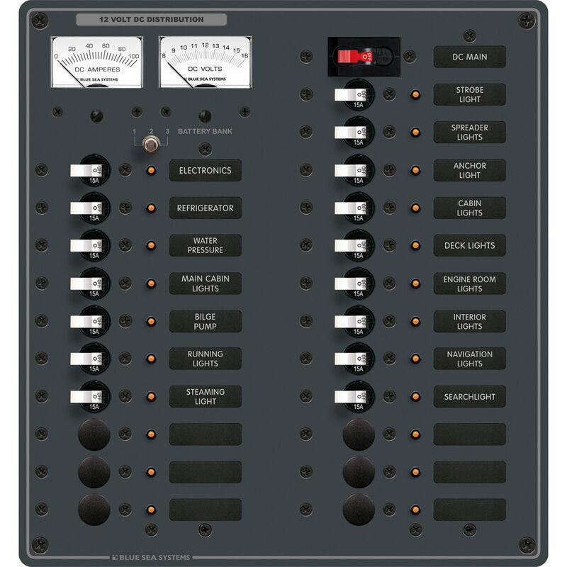 Blue Sea 12V DC Main + 22 Position Circuit Breaker Panel w/Analog Meters image number 1