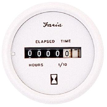 "Faria 2"" Dress White Series Hourmeter, 10,000 Hours / 12-32V DC"