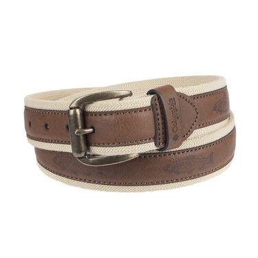 Columbia Men's 38MM Stretch Web Belt With Overlay & Fish Emboss