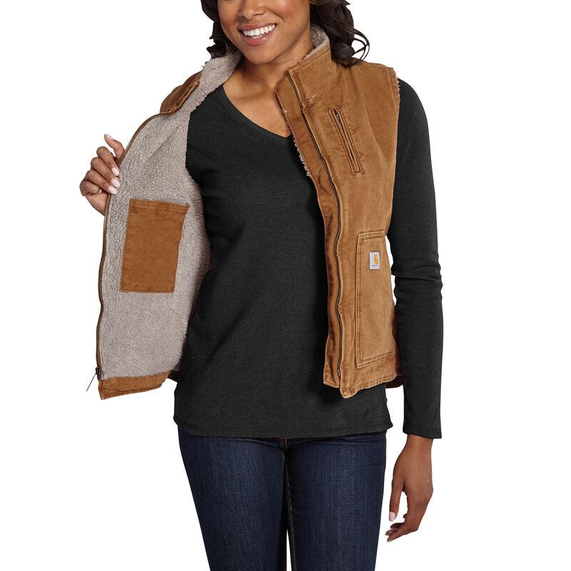 Carhartt Women's Sandstone Sherpa-Lined Mock-Neck Vest image number 9