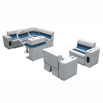 Deluxe Pontoon Furniture w/Toe Kick Base, Group 6 Package, Gray/Navy/Blue