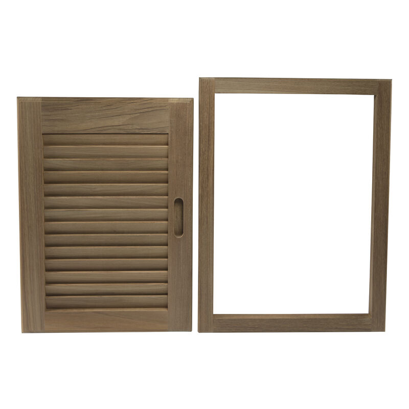 """Whitecap Teak 15"""" x 20"""" Louvered Door & Frame, Right-Hand Opening image number 4"""