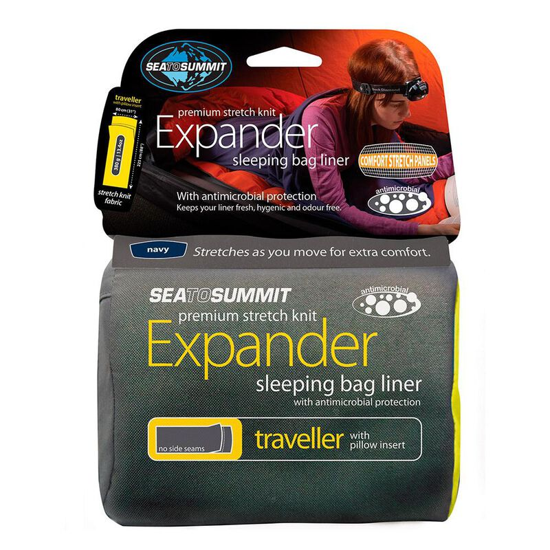 Sea to Summit Expander Travel Sleeping Bag Liner with Pillow Insert image number 1