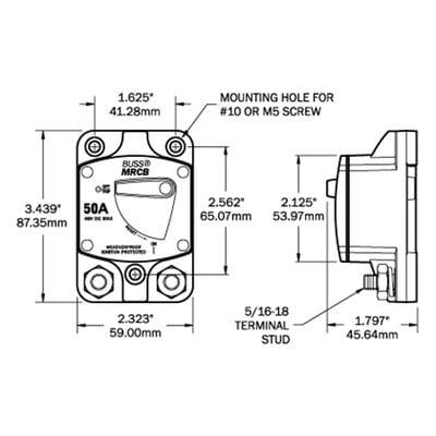 Blue Sea 187-Series Thermal Circuit Breaker, Surface-Mount, 100A