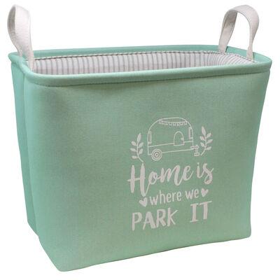 """Home is where we Park It"" Rectangular Storage Bin, Mint"