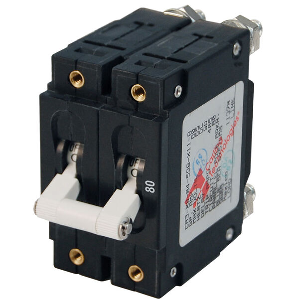 Blue Sea Systems C-Series Toggle Switch Circuit Breaker, Double Pole 80 Amp