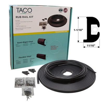 "TACO Marine Flexible Rub Rail Kit, 1-1/16"" X 11/16"", Black with White Insert, 50 Feet"