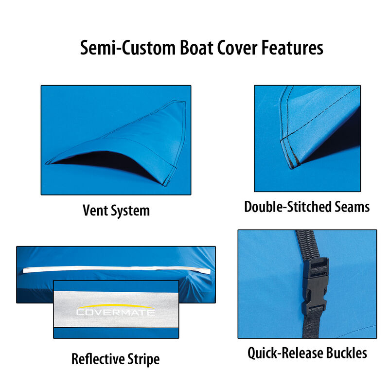 """Covermate Imperial Pro Euro-Style V-Hull I/O Boat Cover, 21'5"""" max. length Blue image number 2"""