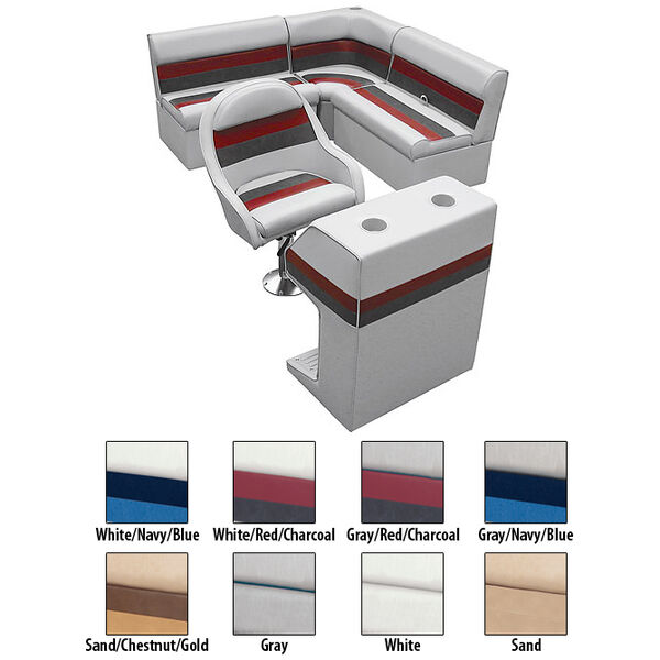 Deluxe Pontoon Furniture w/Classic Base - Rear Group Package D, Sand