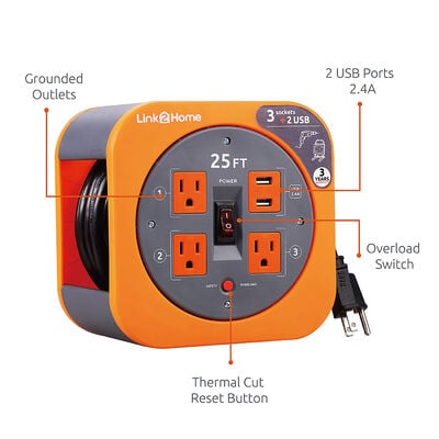 Link2Home Cord Reel 25' Extension Cord with 3 Power Outlets and 2 USB Ports