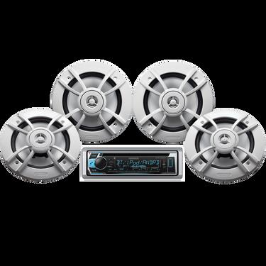 "Kenwood KMR-D368BT Marine Bluetooth CD Receiver Package w/Four 6.5"" Speakers"