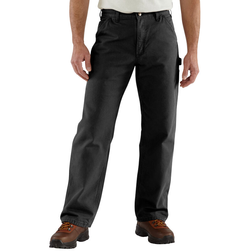 Carhartt Men's Washed Duck Flannel-Lined Dungaree Pant image number 1