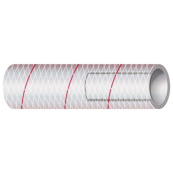 "Shields 1-1/8"" Polyester-Reinforced Red-Tracer Tubing, 50'L"