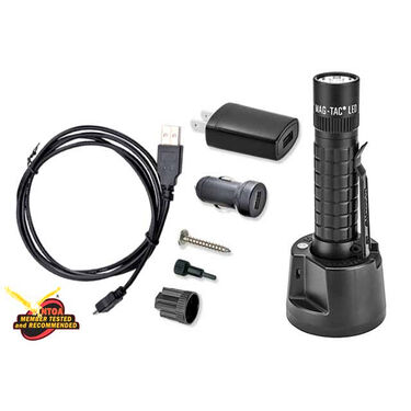 MAGLITE MAG-TAC Rechargeable LED Flashlight System with Crowned Bezel, Black