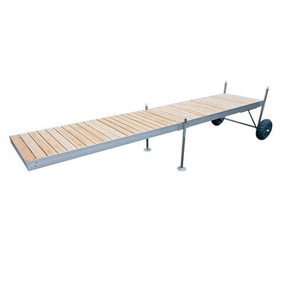 Tommy Docks 20' Roll-In-Dock Straight Aluminum Frame With Removable Cedar Decking Complete Dock Package
