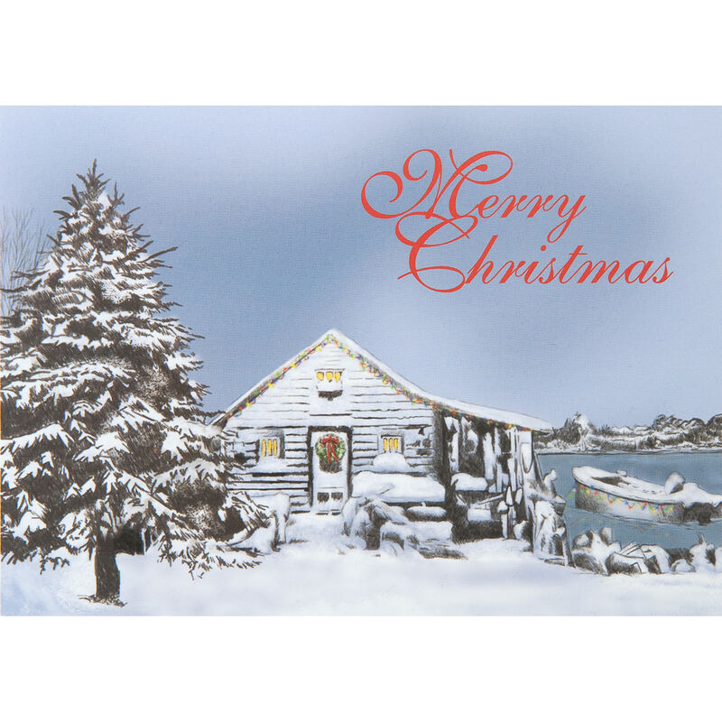 Personalized Lakeside Cabin Christmas Cards image number 1