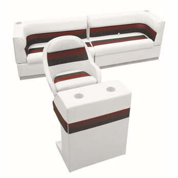 Deluxe Pontoon Furniture w/Toe Kick Base - Rear Traditional Package, White/Red/C
