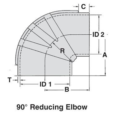 "Sierra 5"" x 4"" EPDM Reducer Elbow, Sierra Part #116-291-500X400"