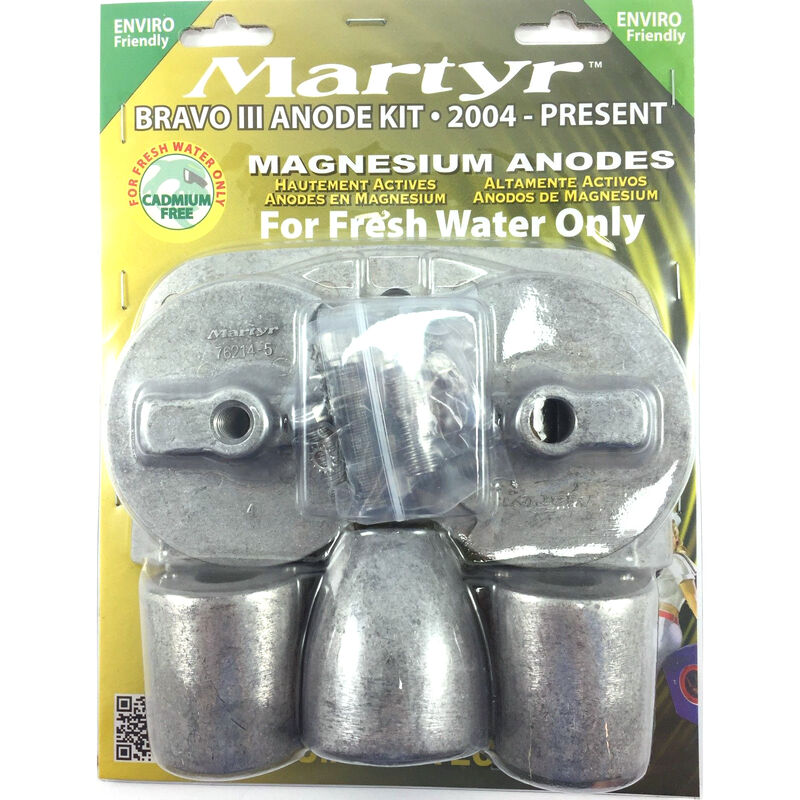 Martyr Mercury Anode Kit for Bravo III Engines, 2004-Present - Magnesium image number 1
